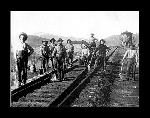 8 x 10のすべての木製額入りフォトrailroad-workers-irish Worker 1868   B078SHMKMR