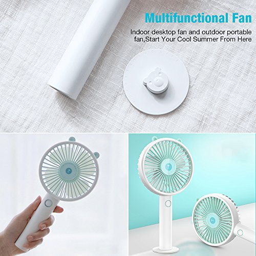 Desk USB Fan-Super Quiet Mini Battery Personal Fans with 2000mA Power Bank,3 Setting, Strong Wind Handheld Portable Small Fan for Baby,Travel,Camping and Outdoor Activities(Blue) by powerman (Image #6)