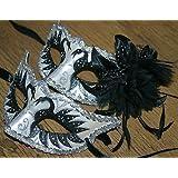 MASK & CO - Coppia di maschere veneziane per uomo e donna, nero e argento