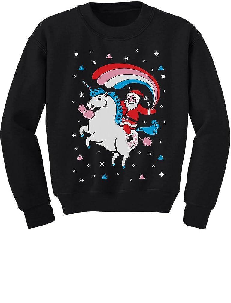 TeeStars - Santa Riding Unicorn Rainbow Ugly Christmas Toddler/Kids Sweatshirt 3T Black GMPlhZtgf5Plf590o