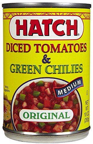 Hatch Diced Tomatoes & Green Chilies, Original, Medium 10 Oz (Pack of 6) - Hot Green Tomato