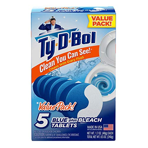 Ty-D-Bol Blue Plus Bleach Tablets Value 5 Pack, Cleans and Deodorizer Toilets for a Fresh Smelling Bathroom (Pack of 10) by Ty-D-Bol (Image #6)