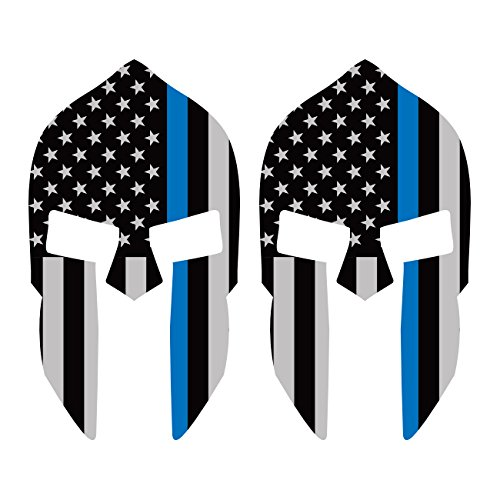 Two-Pack-Thin-Blue-Line-Subdued-Spartan-Helmet-American-Flag-Sticker-FA-Graphix-Vinyl-Law-Police