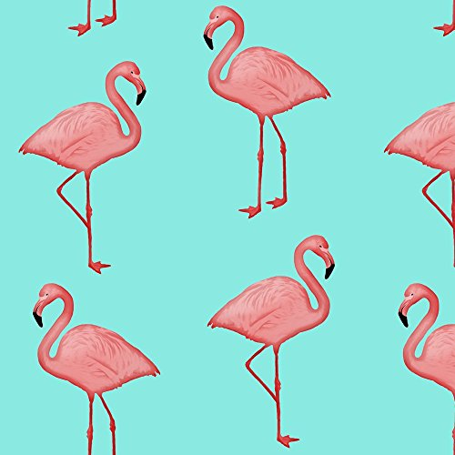 Flamingos Fabric Bimini Bay Flamingos On Aqua By Willowlanetextiles Printed On Performance Knit Fabric By The Yard By Spoonflower