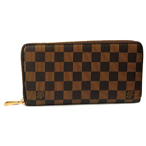 Engong Women's Luxury Checkered Zip Around Wallet Classic Purses Coin Phone Clutch with Card Holder Organizer ()