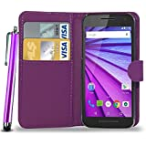 GBOS MOTOROLA MOTO G2 (2nd Gen) LEATHER WALLET BOOK FLIP CASE COVER POUCH CARD & CASH SLOT WITH TOUCH STYLUS PEN PURPLE