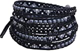 KELITCH Multi Row Bracelet Created Turquoise with Seed Bead 5 Wrap Bracelet Bangle (Black)