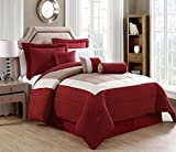 11 Piece King Rosslyn Red/Taupe Bed in a Bag Set