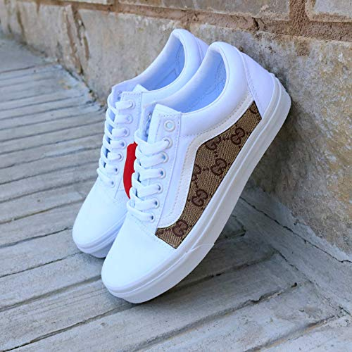 0c85786023 Amazon.com  Vans White Old Skool x Gucci Custom Handmade Uni-Sex Shoes By  Patch Collection  Handmade