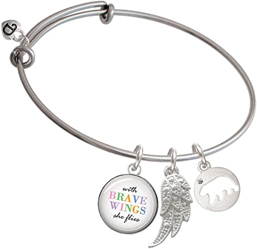 Delight Jewelry Silvertone Bear Silhouette Stronger Smarter Braver Expandable Bangle Bracelet