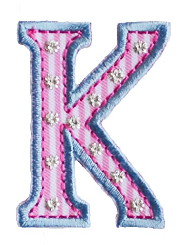 (TrickyBoo Iron-On Letter Patch Craft Applique K Pink Blue 9Cm Personalize Clothing Fabric Names Crafts Jeans To Iron On Bag Hat Door Hat Skirt Dresses Cap Jacket Neckerchief Ceiling Flag)