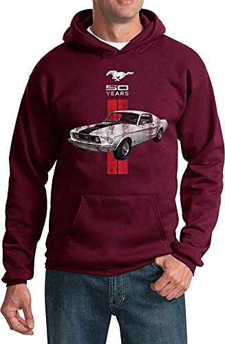 (Ford Mustang Hoodie Limited Edition 50 Years Red Stripe Sweatshirt, Maroon, L)