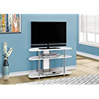 38L WHITE WITH SILVER ACCENT TV STAND