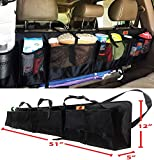 SUVs Rear Trunk Organizer with Umbrella Holder Hanging | X Large by P&F - Extra Rigid and Visible | Collapsible Cargo Net | Backseat Storage for Mid-size Crossovers to Mid-size SUVs | Van (51-Inches)