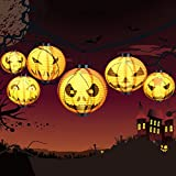 Halloween Decorations Hanging Pumpkin Paper Lanterns Light LED 6pc (Small Image)