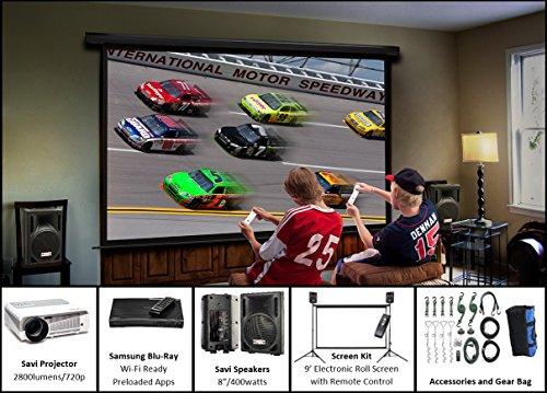 Silver Screen Series | Outdoor/Indoor Projector, Projector Screen & Sound System | 9' SilverScreen, Savi 720p HD Projector, 2 Savi 8