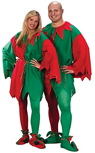 Fun World Costumes Men's Adult Elf Tunic, Red/Green, One Size (Adult Elf Tunic)
