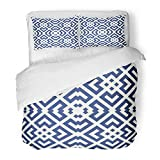 Emvency 3 Piece Duvet Cover Set Brushed Microfiber Fabric Chinese Window Tracery Navy Diamonds Brackets Chevrons on White Ancient Ethnic Breathable Bedding Set with 2 Pillow Covers Full/Queen Size