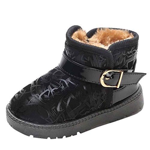IGEMY Mode Jungen Mädchen Sneaker, Baby Dicke Casual Schneeschuhe Schwarz