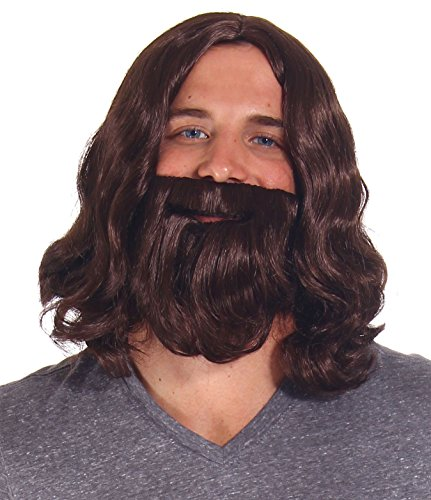[Simplicity Jesus Brown Full Wavy Wig With Beard Set and Free Wig Cap] (Sally Brown Costume)