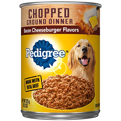 - Pedigree Chopped Ground Dinner Bacon Cheeseburger Flavors Adult Canned Wet Dog Food, (12) 13.2 Oz. Cans