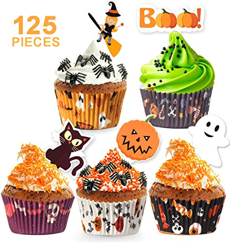125 Pack Halloween Party Supplies Standard Paper Cupcake Case Liners Holders Toppers Wrappers Disposable Baking Cups Muffin Liners for Halloween Party Decoration