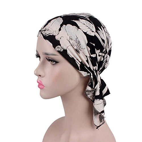 Cotton Beanie Hats Floral Printed Soft Comfy Sleep Cap Slouchy Hat Headwrap Hat (A)