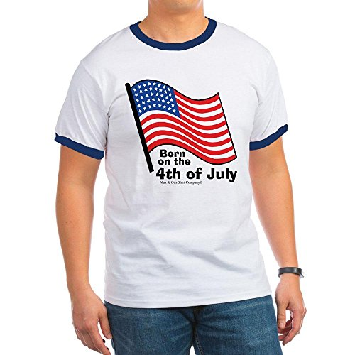 CafePress - Born on The 4th of July T-Shirt - Ringer T-Shirt, 100% Cotton Ringed T-Shirt, Vintage Shirt Navy/White