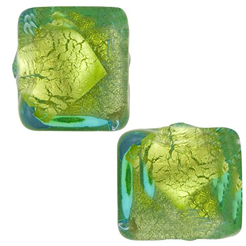 Aqua and Green Abstract Cube 10mm Silver Foil, Murano Glass Bead, 2 Pieces