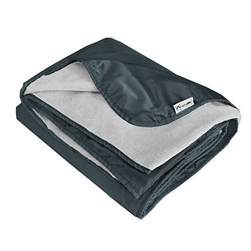 XL Plush Fleece Outdoor Stadium Rainproof and Windproof Picnic Blanket - Camp Blanket (Slate - Sports Blanket