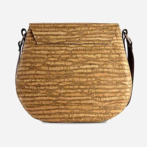 Woman Free Handbag for Brown Marron Vegan Saddle Cork Women Color Leather Bag Body Cross I1nT8X