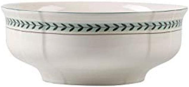 Villeroy & Boch French Garden Green Line Round Vegetable Bowl, 9.75 in, Premium Porcelain, White/Green