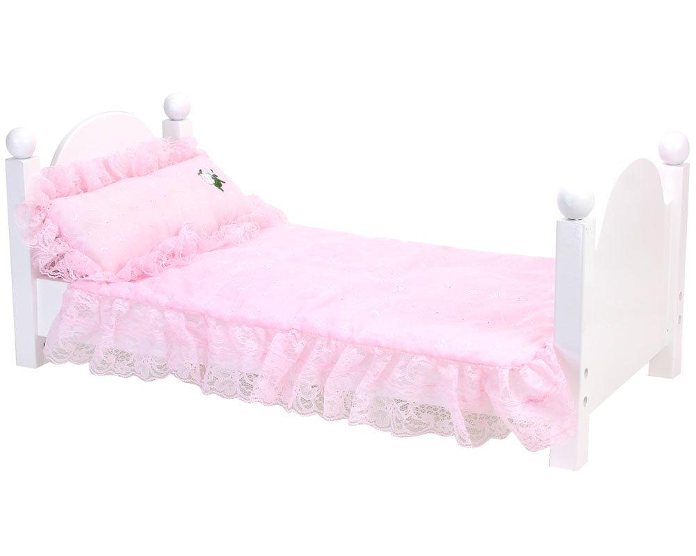 Sophia's Pink Bedding Set with Doll Pillow, Comforter and Mattress Pad | Light Pink Eyelet Bedding Set for 18 in Doll Beds