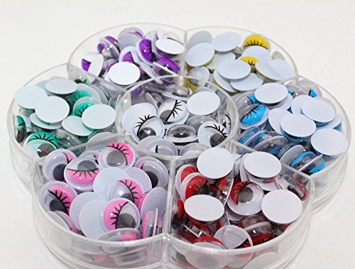 [240pcs 10mm Multicolor eyelash eye Movable toy Eye(100% Enough Quantity) Plastic eye googly eyes] (Plastic Surgery Costume Makeup)