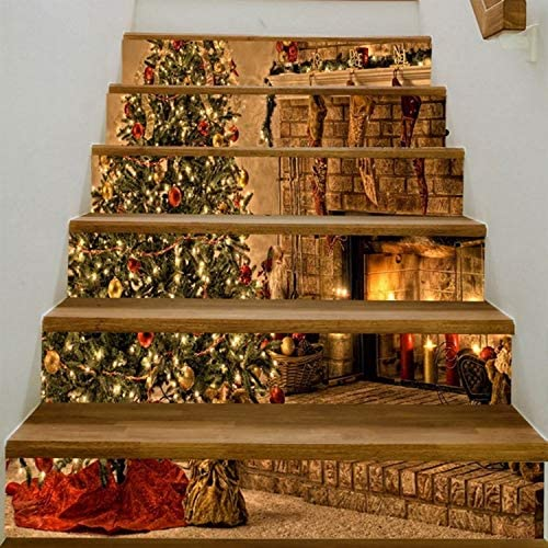 yuyu-beautiful Chimenea De Navidad Creativo Sol Cascada Etiqueta De La Pared para Escaleras Vinilo Impermeable Etiqueta De La Escalera Decoración para El Hogar Cartel DIY: Amazon.es: Hogar