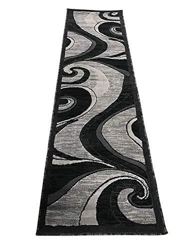 Americana Modern Contemporary Runner Rug Grey & Black Design 144 (2 Feet X 7 Feet 3 inch) (Carpet Grey Black Runners And)