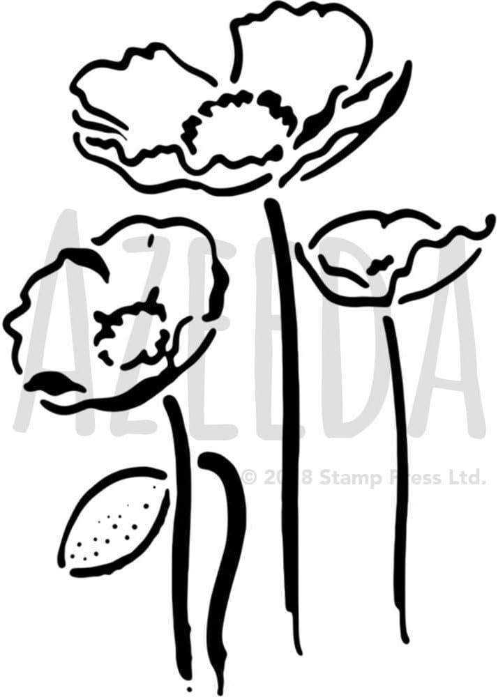 Azeeda Grand A2 Coquelicots Pochoir Mural WS00035273
