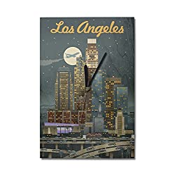 Lantern Press Los Angeles, California - Retro Skyline (10x15 Wood Wall Clock, Decor Ready to Hang)