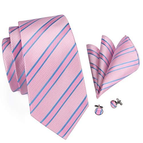 Hi-Tie Men Pink Stripes Tie Handkerchief Necktie with Cufflinks and Pocket Square Tie Set