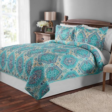 Beautiful Calming and Relaxing Mainstays Paisley Quilt Bedding Set, Quilt PLUS 2 Shams! Turquoise Blue Green, Add Pop of Color and Whimsical Design to any Room! Easy Care, Multiple Sizes! (King)