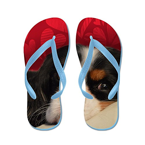 CafePress Tri-Color Cavalier King Charles Spaniel - Flip Flops, Funny Thong Sandals, Beach Sandals Caribbean Blue