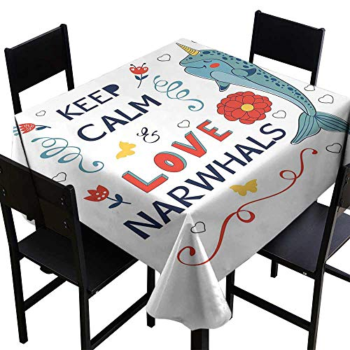 StarsART Decorative Print Tablecloth Narwhal,Pop Culture Phrase with Unicorn of The Ocean Design Colorful Cartoon Character,Multicolor D54,Party Tablecloth Covers