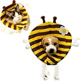 Bolbove Bee with Stripes Design Pet Soft & Stylish Cone Recovery E-Collar for Dogs & Cats (5#)