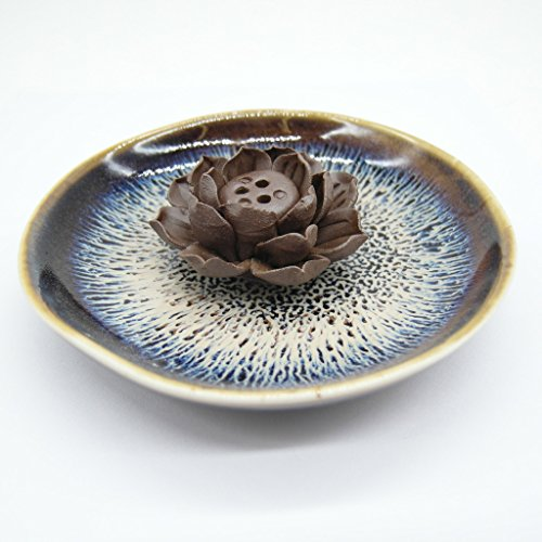 TrendBox Ceramic Handmade Artistic Incense Holder Burner Stick Coil Lotus Ash Catcher Buddhist Water Lily Plate – Three Holes Transmutation Glaze