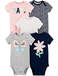 Baby Girls' 5 Pack Bodysuits (Baby), Kitty Love