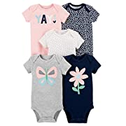 Carter's Baby Girls 5 Pack Bodysuit Set, Yay, 9 Months