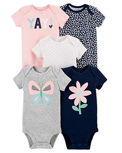 (Carter's Baby Girls 5-Pack Original Short Sleeve Bodysuits (Gray Butterfly) (6 Months) )