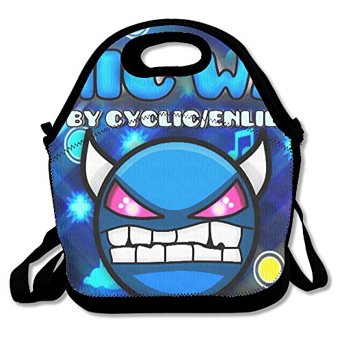 Geometry Dash Sonic Wave Demon Icon Travel Tote Lunch Bag