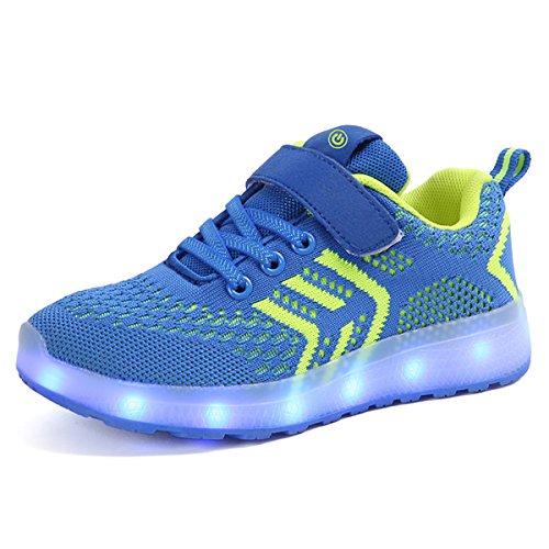 Carica Unisex Luci bambini LED nella Sneakers Bright DoGeek Bambino Suola Bambina Tennis 2018 Scarpe Scarpe Blu Shoes con 7 Scarpe Luci Design Colore di USB 07Axwqa