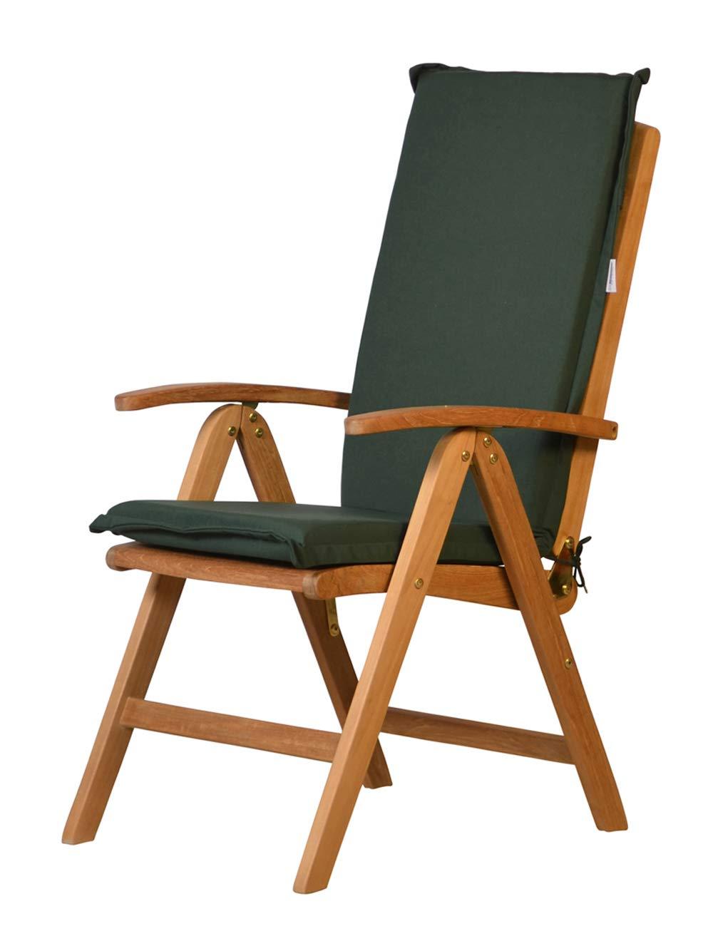 Kai Wiechmann 4er Set  Auflage für Hochlehner aus lichtechtem Dralon 117 x 47 cm maschönenwaschbar (grün dunkelgrün), Polster für Gartenstuhl Klappsessel
